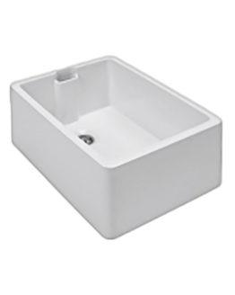 fregadero de cerámica blanco para mueble de 60 cm