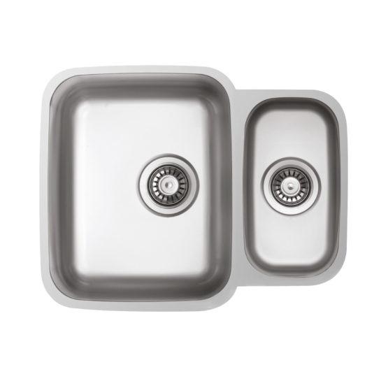 fregadero de cocina con dos senos en acero inoxidable para mueble de 60 cm