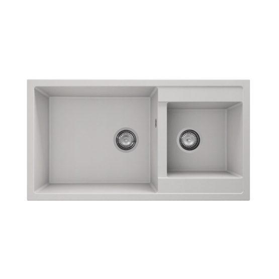 fregadero granito blanco dos cubetas para mueble de 90 cm