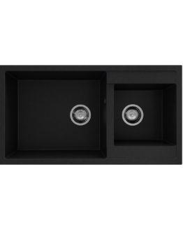 fregadero granito negro con dos cubetas para instalación sobre encimera