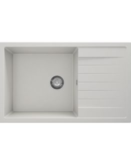 fregadero de granito con escurridor en color blanco