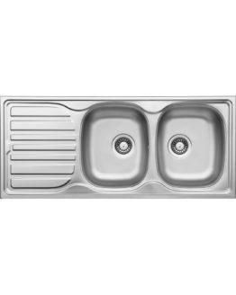 fregadero cocina en acero inoxidable con dos cubetas y escurridor izquierda para mueble de 80 cm