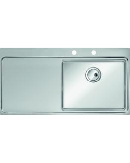 fregadero con escurridor izquierdo grande en acero inoxidable para mueble de 60 cm
