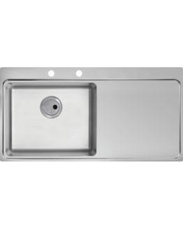 fregadero de cocina con escurridor en acero inoxidable para mueble de 60 cm