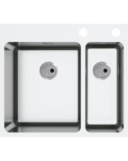 fregadero de cocina con dos cubetas para mueble de 60 cm