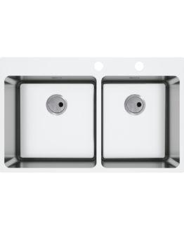 fregadero con dos cubetas en acero inoxidable para mueble de 80 cm